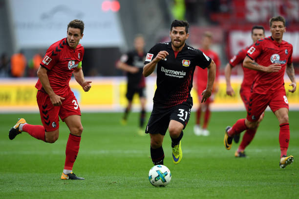 Leverkusen's Kevin Volland brings the ball up the pitch during the German Bundesliga soccer match between Bayer Leverkusen and SC Freiburg in the BayArena in Leverkusen,Germany, 17 September 2017. Photo: Federico Gambarini/dpa (Photo by Federico Gambarini/picture alliance via Getty Images)